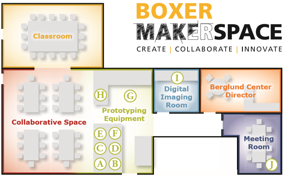Spaces include the classroom, collaborative spaces, prototyping equipment, digital image room, and meeting room.