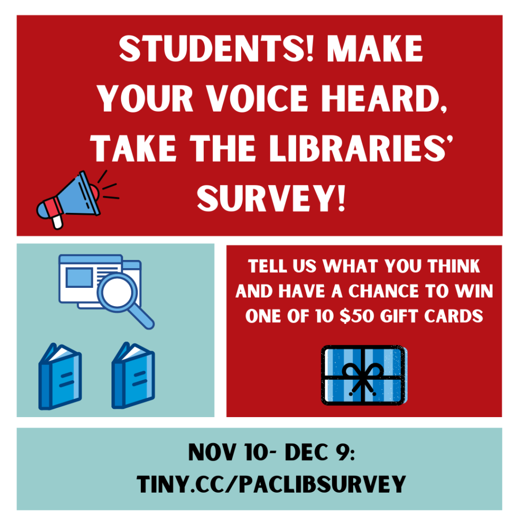 Students! Make your voice heard, take the Libraries' survey. Nov 10-Dec 9.